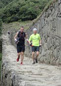 Randy Keith (R) and Chris Brooks near the Finish of the Inca Trail Marathon
